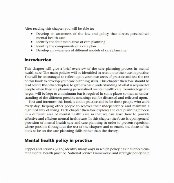 Mental Health Crisis Plan Template Best Of Sample Care Plan Template 9 Free Documents In Pdf Word