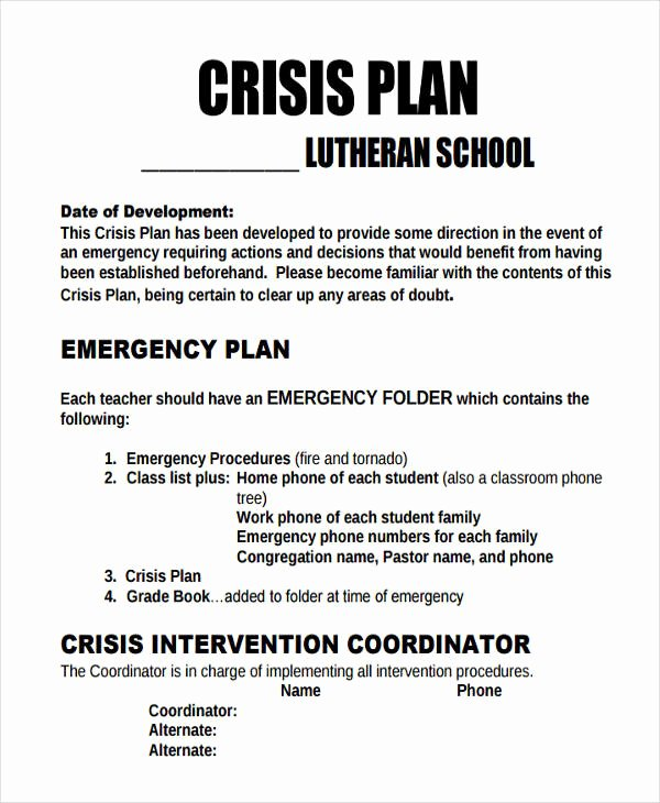 Mental Health Crisis Plan Template Fresh 10 Crisis Plan Templates Sample Word Google Docs