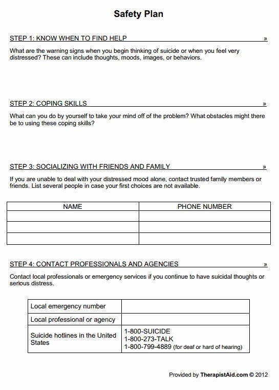 Mental Health Crisis Plan Template Luxury Safety Plan Worksheet