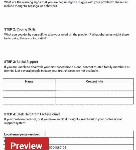 Mental Health Safety Plan Template Fresh Safety Plan Worksheet