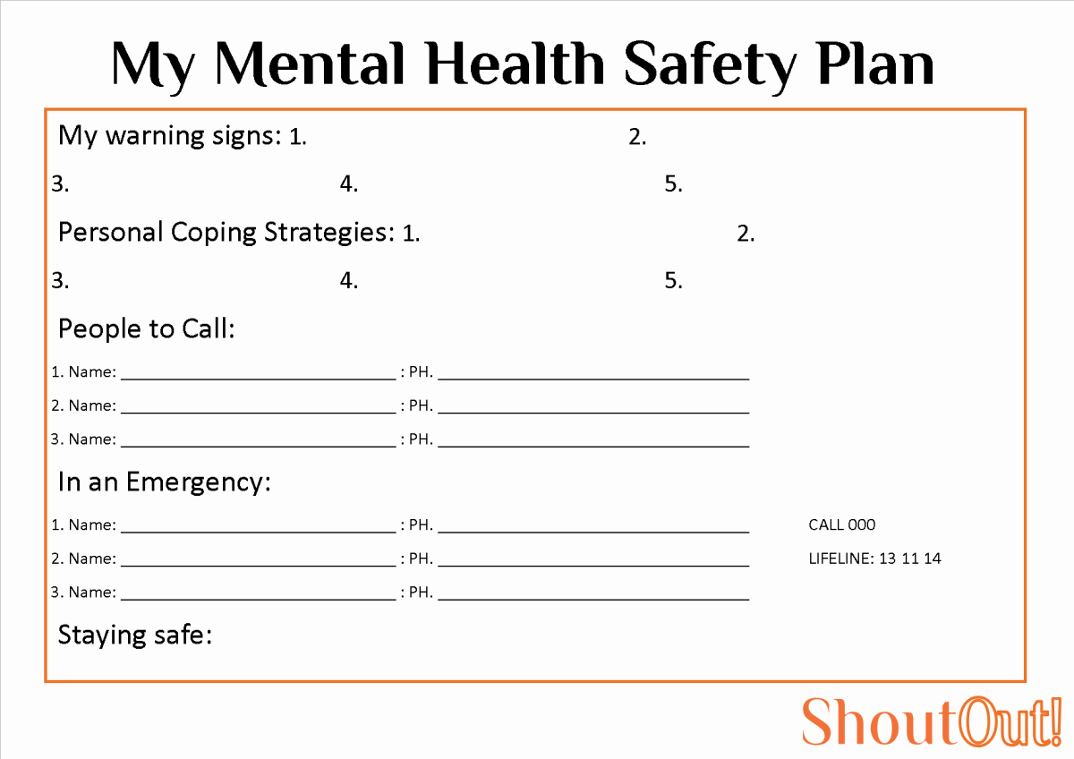 Mental Health Safety Plan Template Inspirational Mental Health Safety Plan Template Militaryalicious