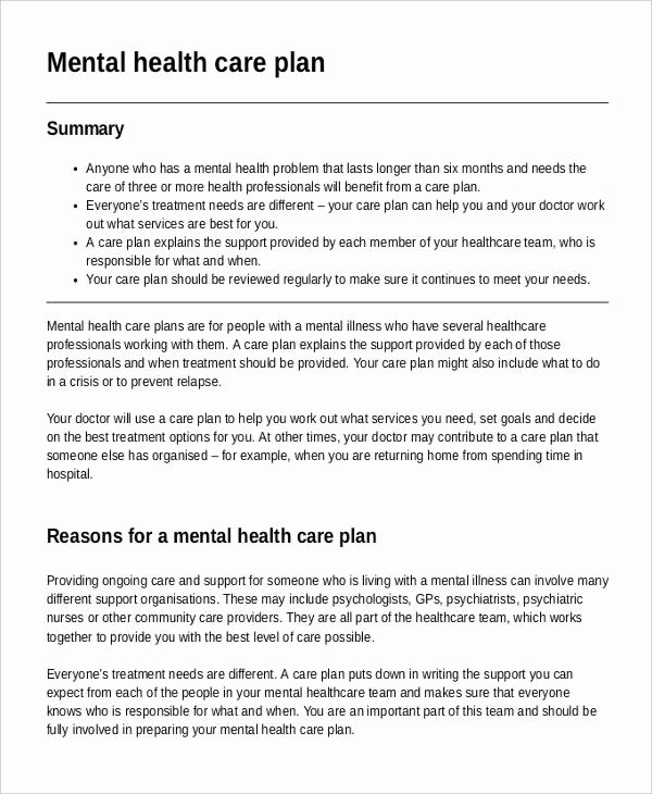 Mental Health Treatment Plan Template Inspirational Mental Health Care Plan Templates 8 Free Sample