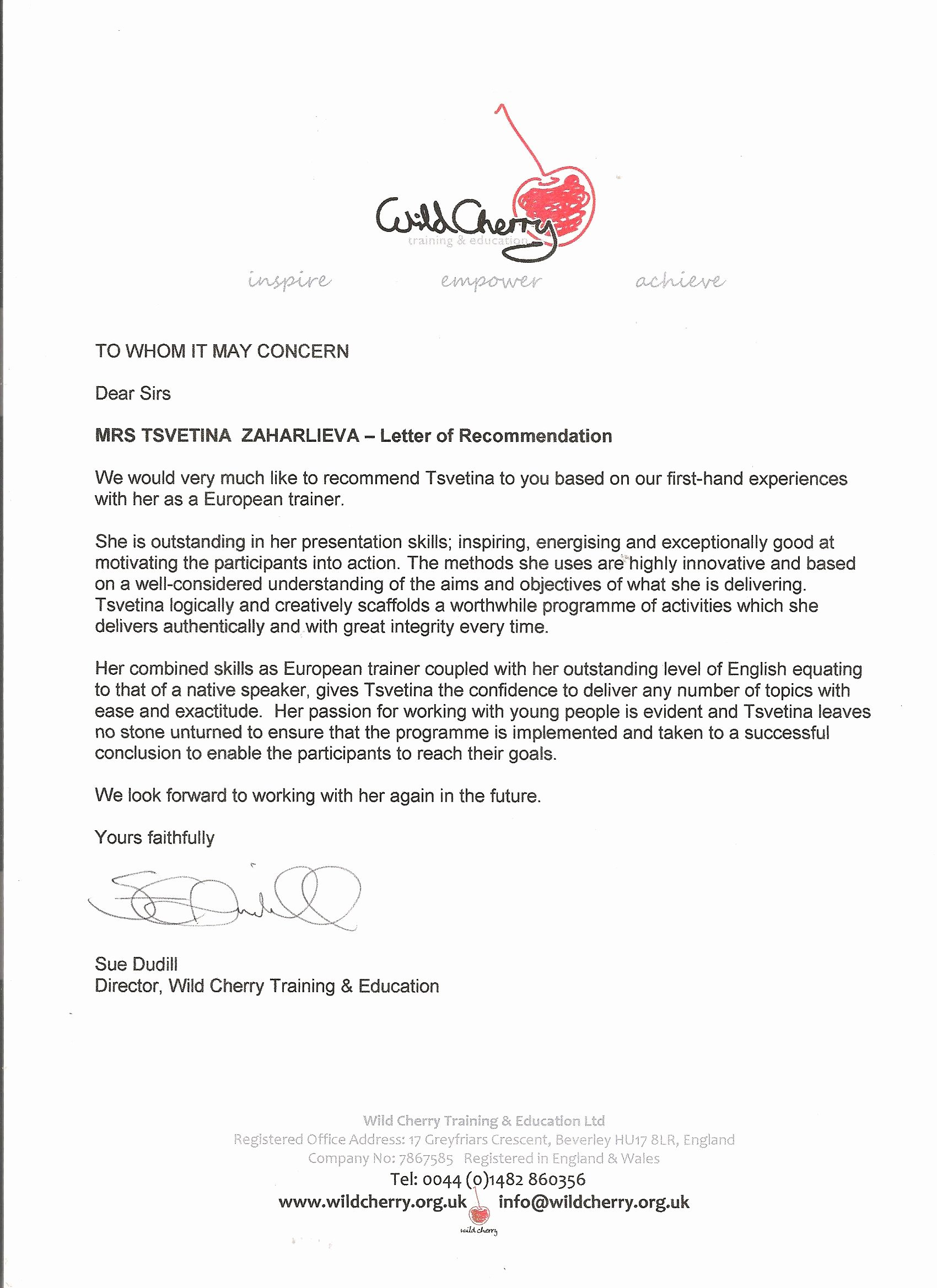 Mentoring Letter Of Recommendation Beautiful Salto Youth toy Tsvetina Zaharlieva