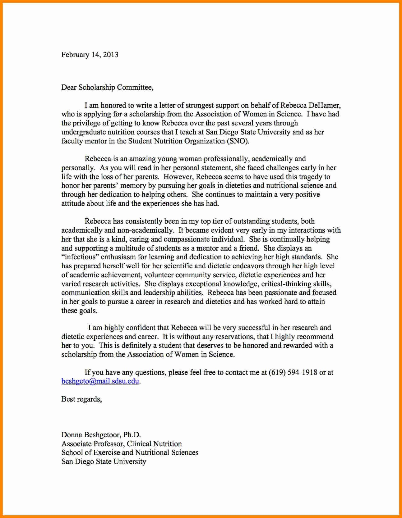 Mentoring Letter Of Recommendation Beautiful Sample Reference Letter for Student Scholarship Letter