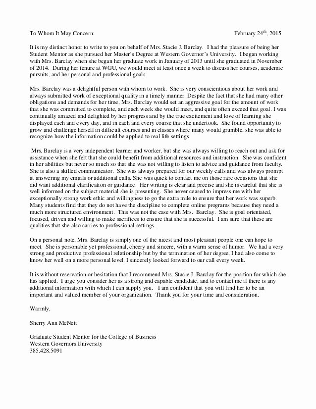 Mentoring Letter Of Recommendation Best Of Letter Of Re Endation From Mba Wgu Mentor Sherry Mcnett