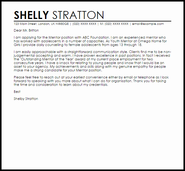 Mentoring Letter Of Recommendation Fresh Mentor Cover Letter Sample