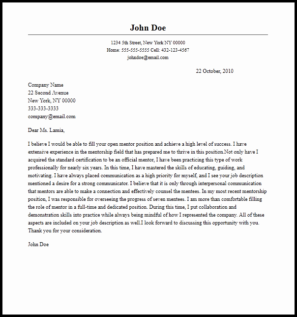 Mentoring Letter Of Recommendation Fresh Professional Mentor Cover Letter Sample & Writing Guide