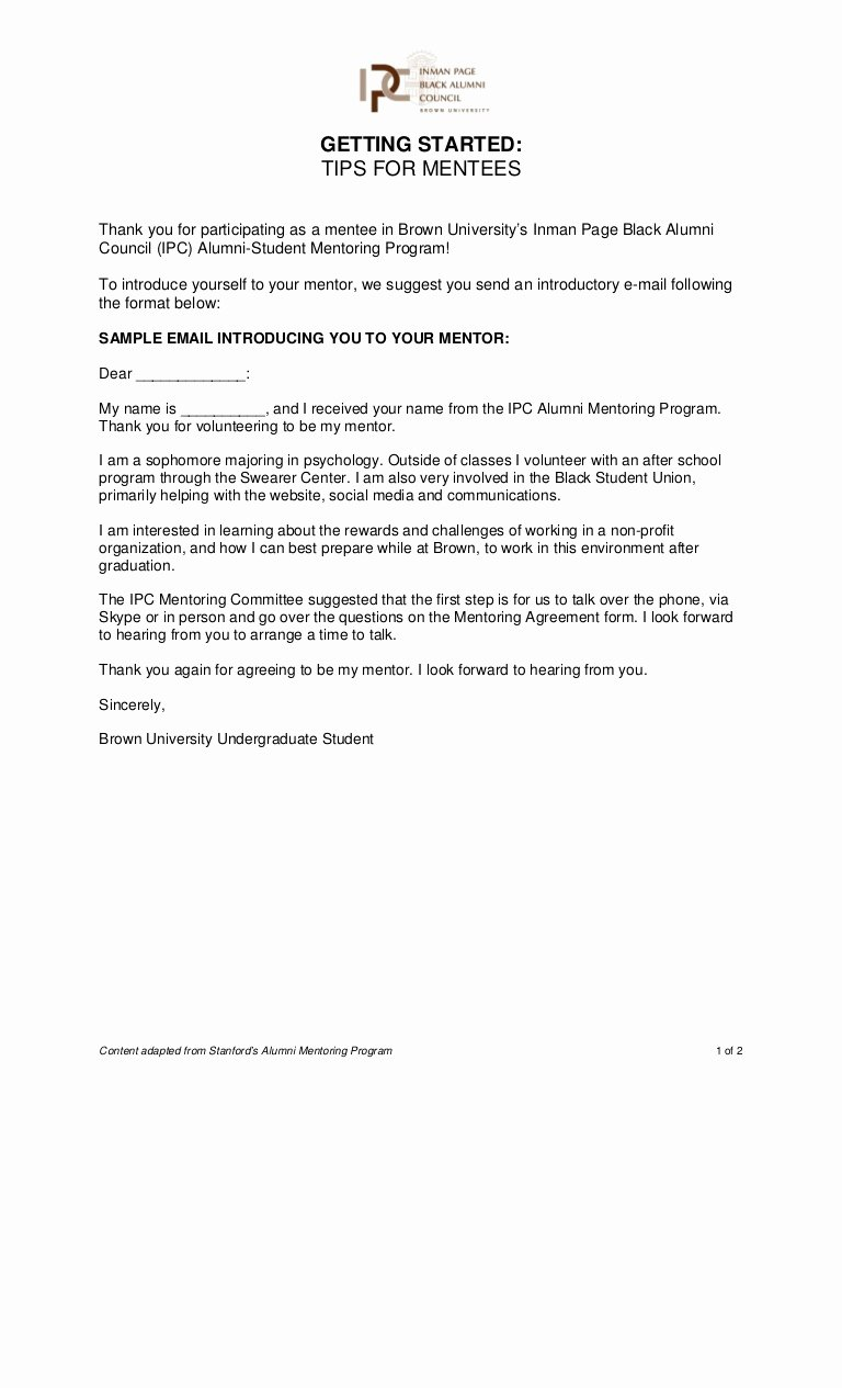 Mentoring Letter Of Recommendation Luxury Ipc Mentoring Program Guide for Mentees In Making Contact