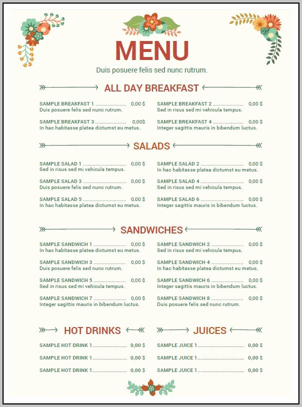 Menu Template Free Word Beautiful Cafe Menu Templates Free Download Word Template Resume