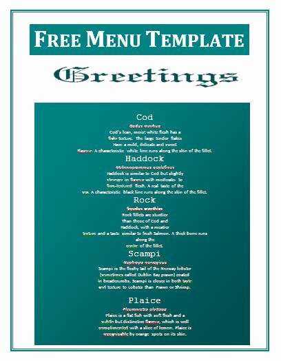 Menu Template Free Word Best Of Christmas Menu Template Word Free