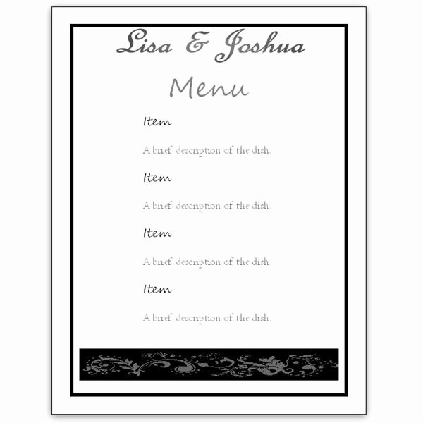 Menu Template Free Word Inspirational Menu Template Word