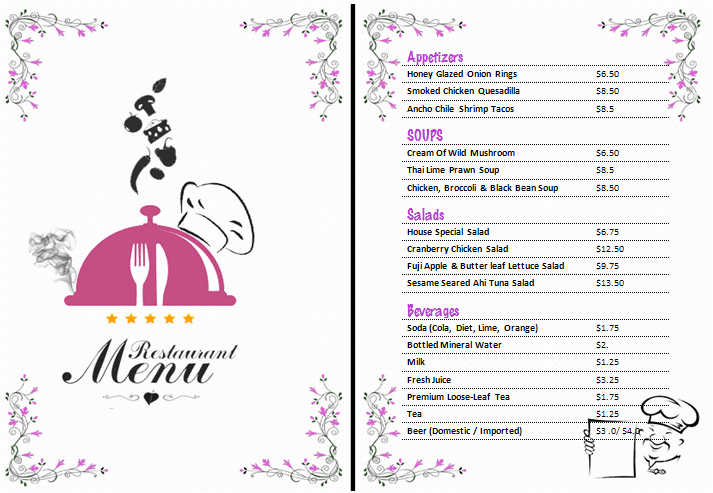 Menu Template Free Word Inspirational Ms Word Restaurant Menu