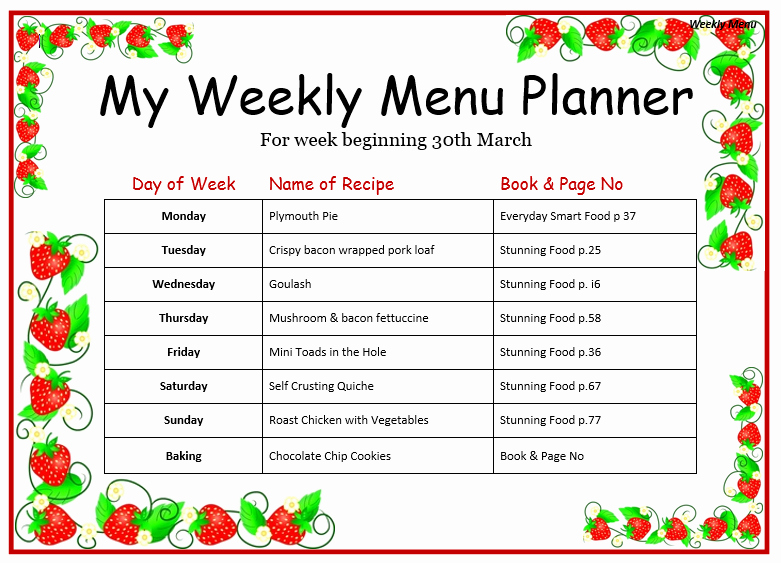 Menu Template Free Word Inspirational Weekly Menu Templates for Microsoft Word Actadiurnafo