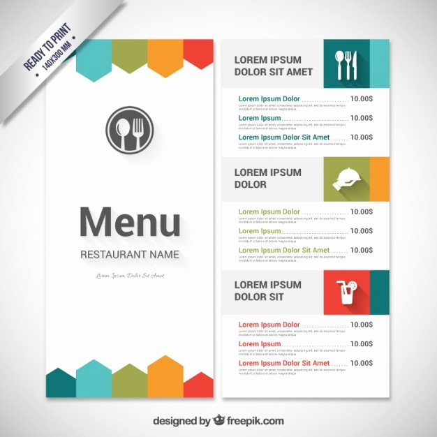 Menu Template Free Word Lovely Colorful Menu Template Vector