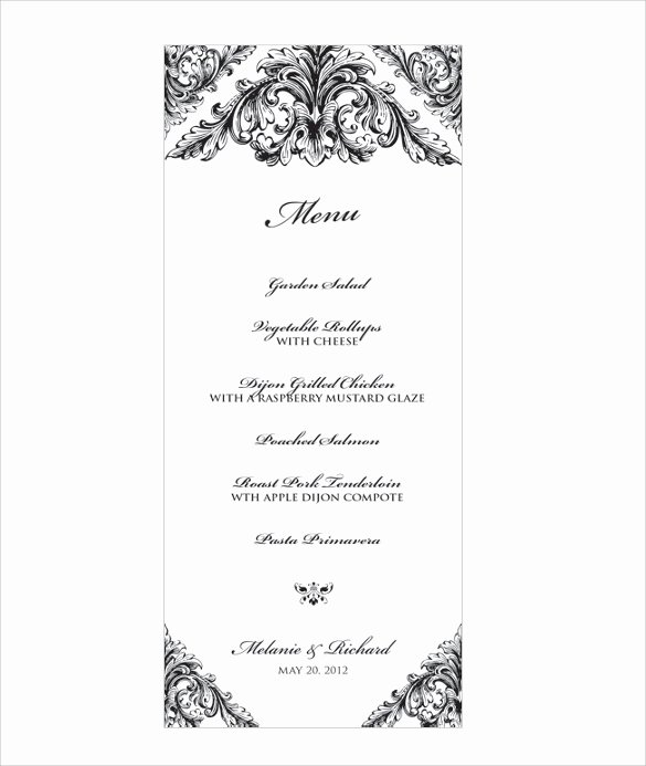 Menu Template Free Word Lovely Wedding Menu Template 31 Download In Pdf Psd Word