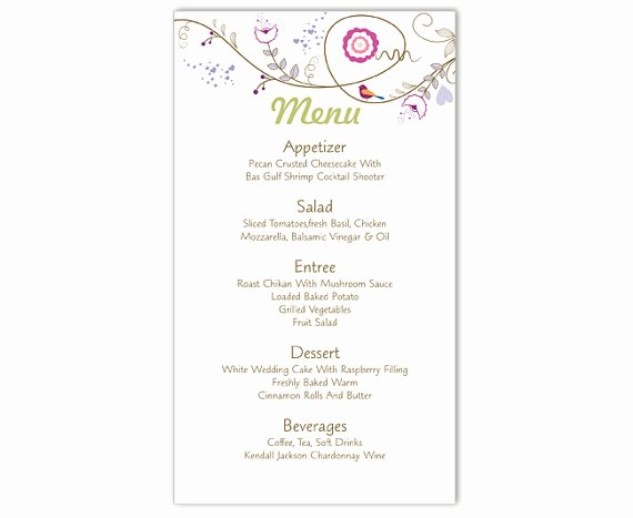 Menu Template Free Word Lovely Wedding Menu Template Diy Menu Card Template Editable Text