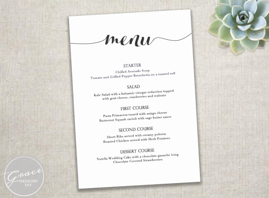 Menu Template Free Word Luxury Printable Black Menu Template Calligraphy Style Script