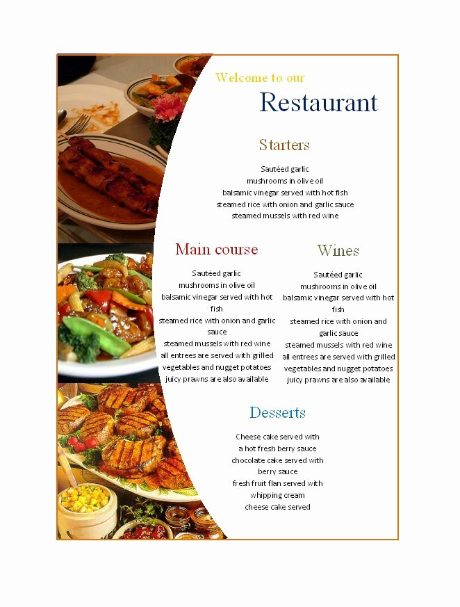 Menu Template Free Word New 31 Free Restaurant Menu Templates & Designs Free