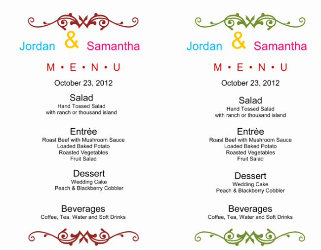 Menu Template Free Word Unique Wedding Menu Template 5 Free Printable Menu Cards