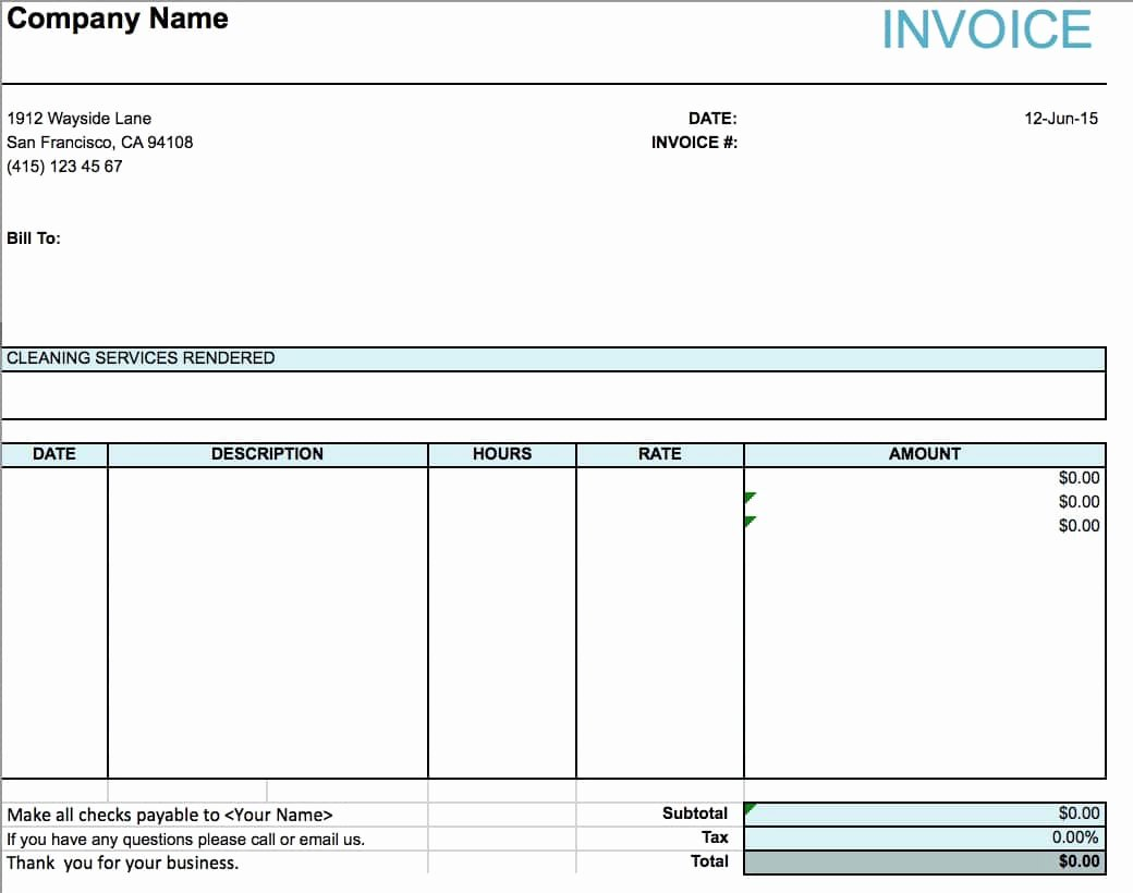 Microsoft Access Invoice Templates Elegant Free House Cleaning Service Invoice Template Excel