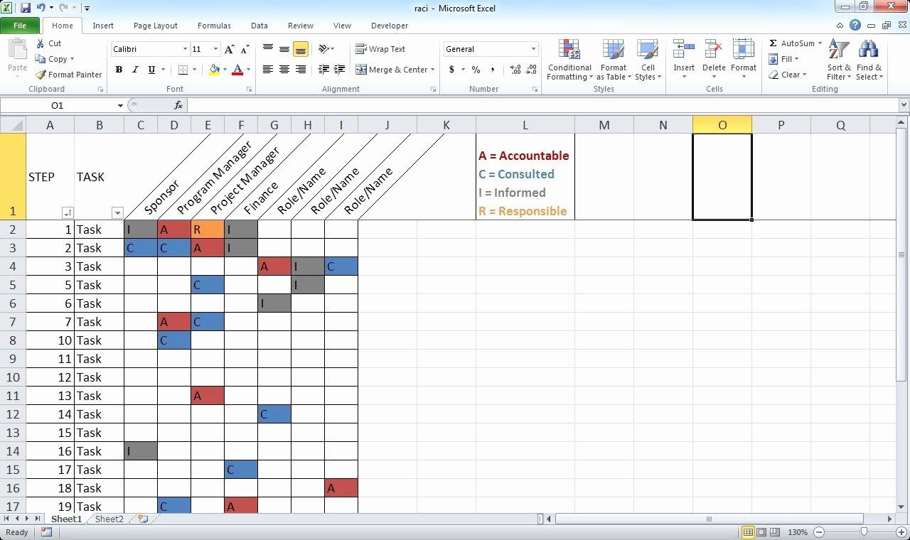 Microsoft Excel Raci Template Unique Microsoft Excel Raci Template Easily Create A Raci Chart