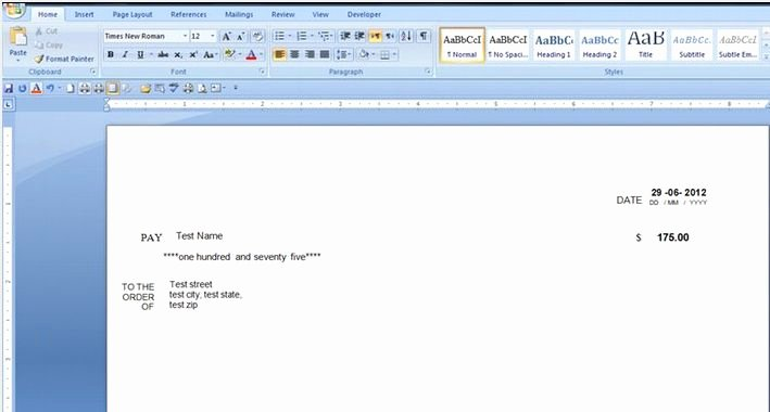 Microsoft Word Check Template New Word Template for Cheque Printing New Word Template for