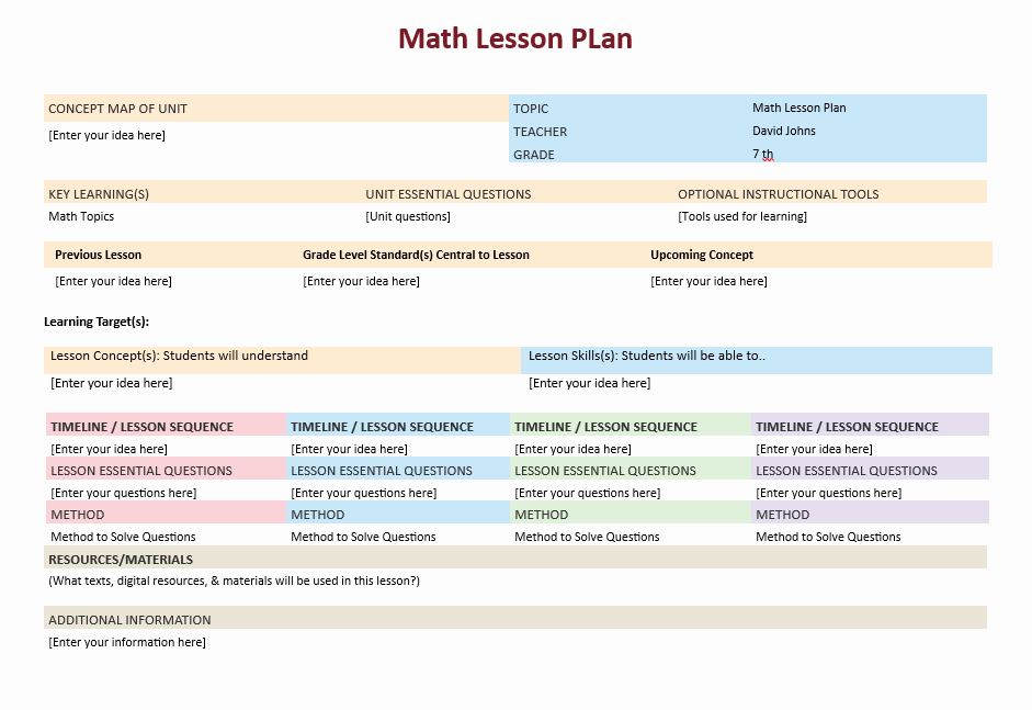Microsoft Word Lesson Plan Template Fresh Math Lesson Plan Template – Microsoft Word Templates