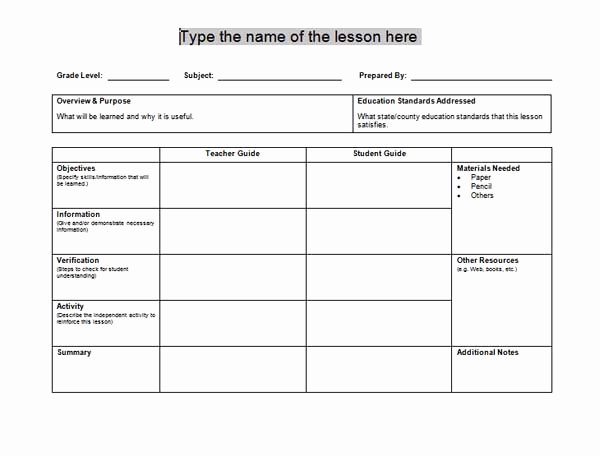 Microsoft Word Lesson Plan Template Inspirational Free Lesson Plan Templates