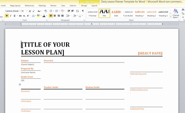 Microsoft Word Lesson Plan Template New Daily Lesson Planner Template for Word