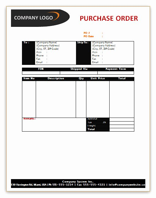 Microsoft Word Purchase order Template Lovely Purchase order Template