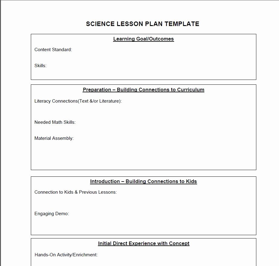 Middle School Lesson Plan Template Awesome Lesson Plan Template for Middle School Science Templates
