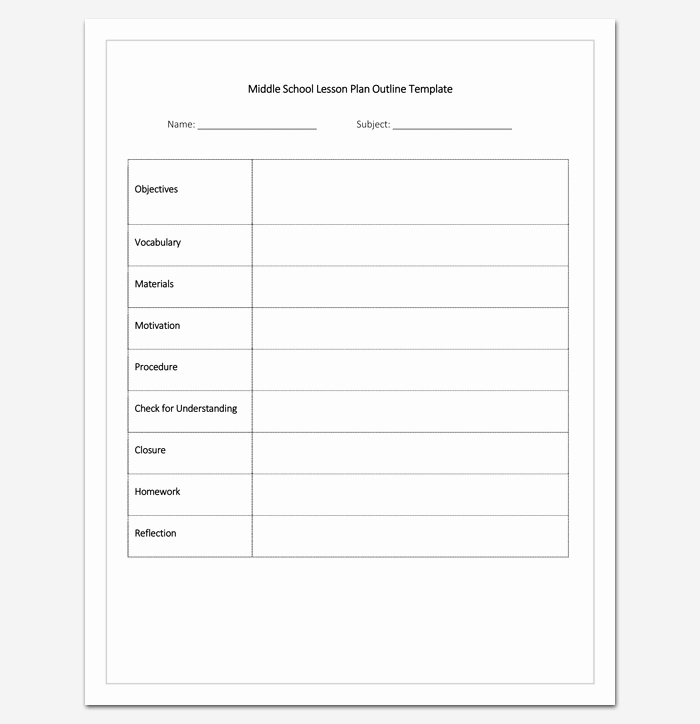 Middle School Lesson Plan Template Lovely Lesson Plan Outline Template 23 Examples formats and