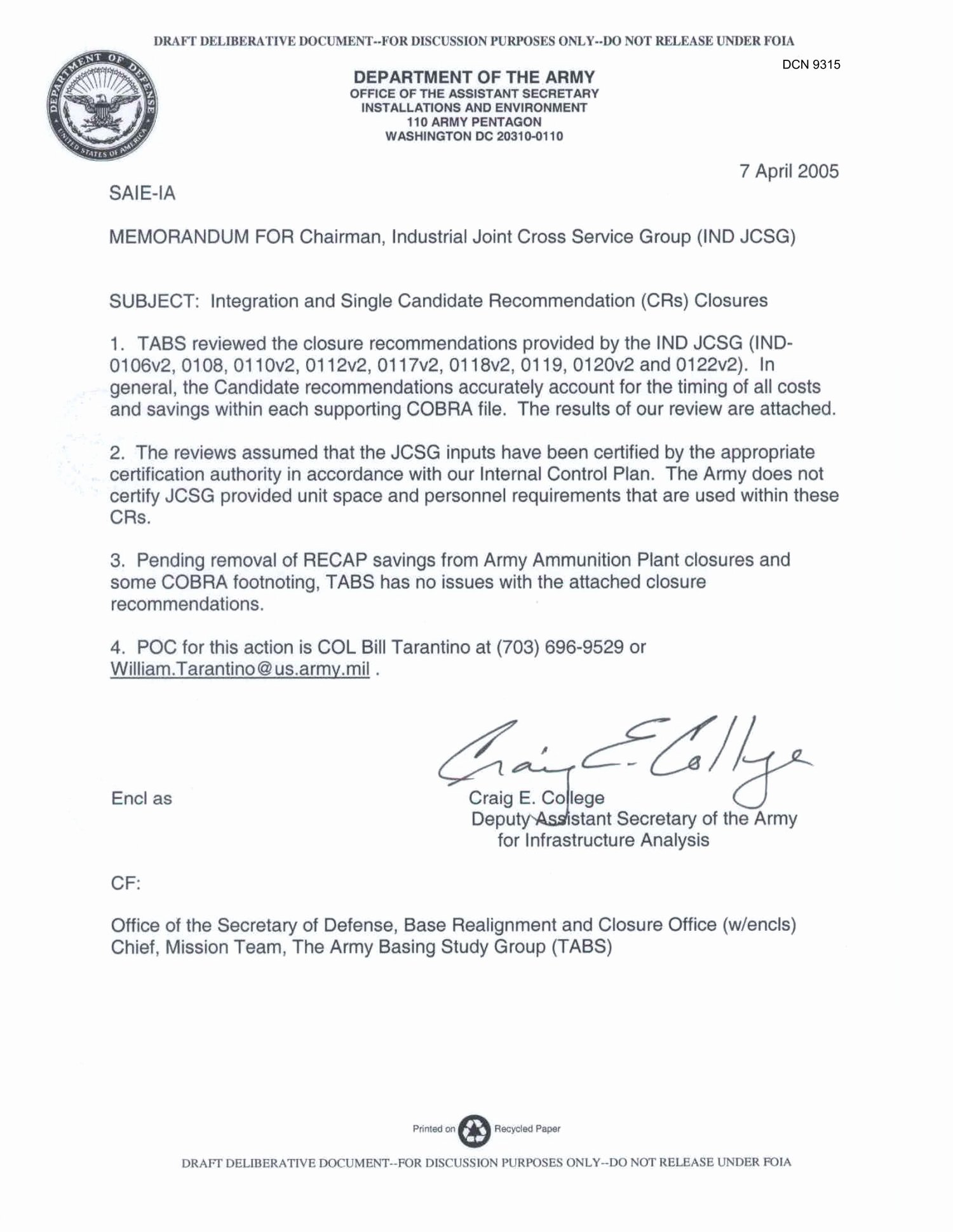 Military Letter Of Recommendation Awesome Department Of the Army Memo Dated 7 April 2005 for
