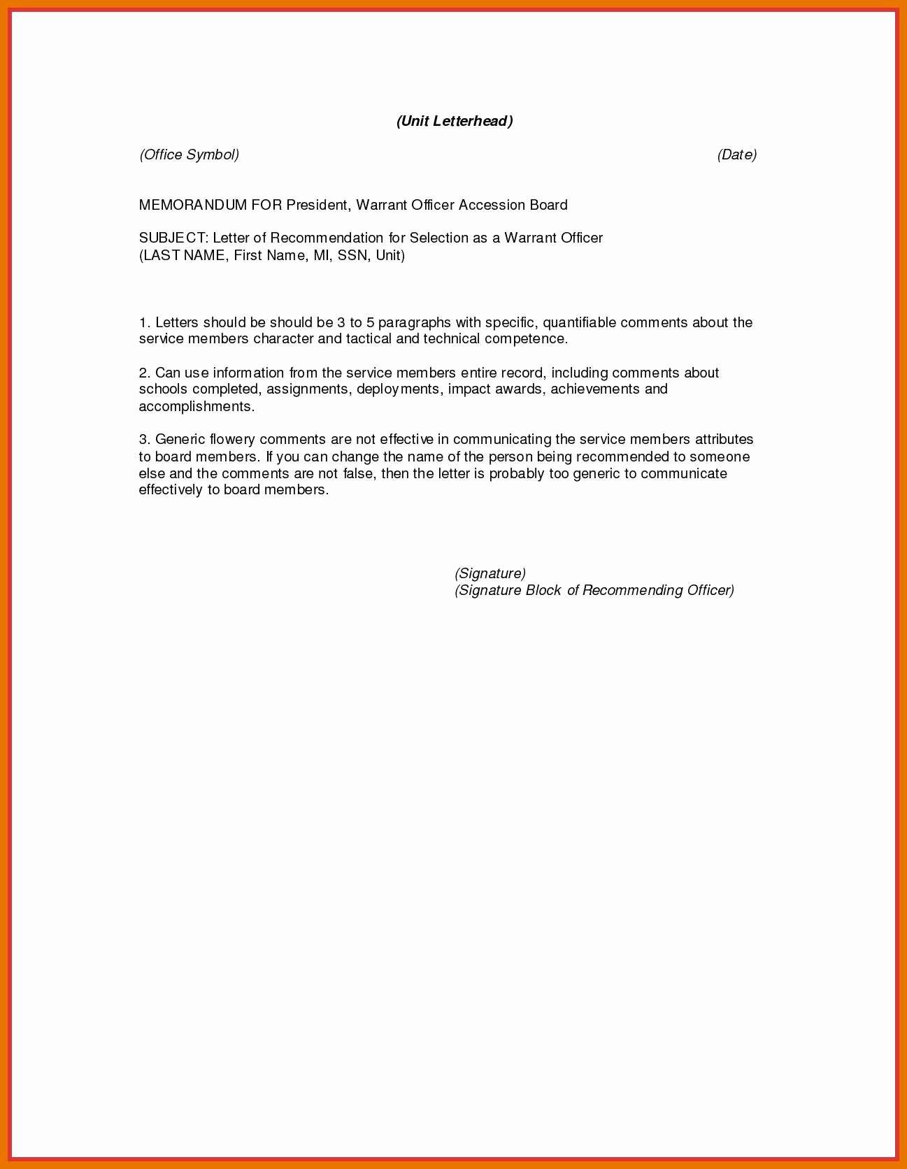 Military Letter Of Recommendation Elegant 5 6 Military Letter