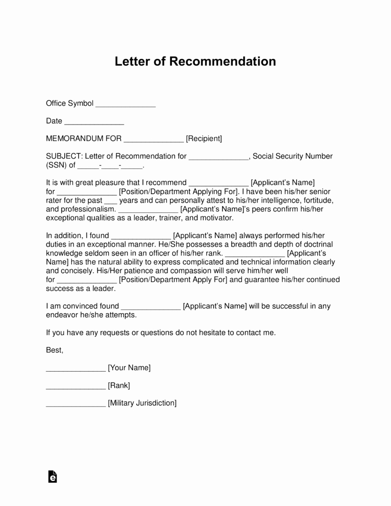 Military Letter Of Recommendation Elegant Free Military Letter Of Re Mendation Templates Samples