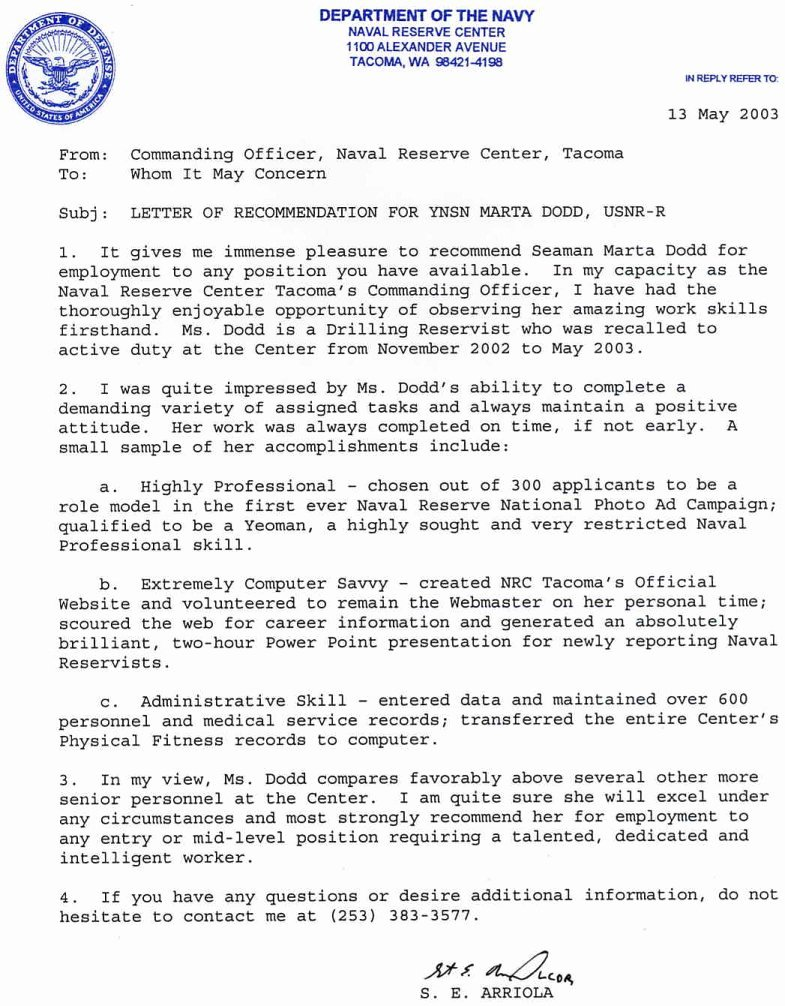 Military Letter Of Recommendation Examples Awesome Navy Girl S Brag Sheet