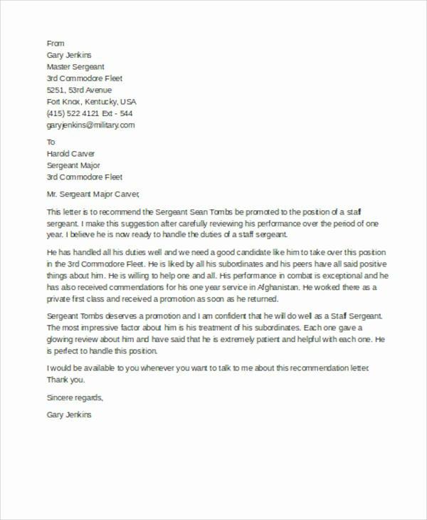 military re mendation letter sample