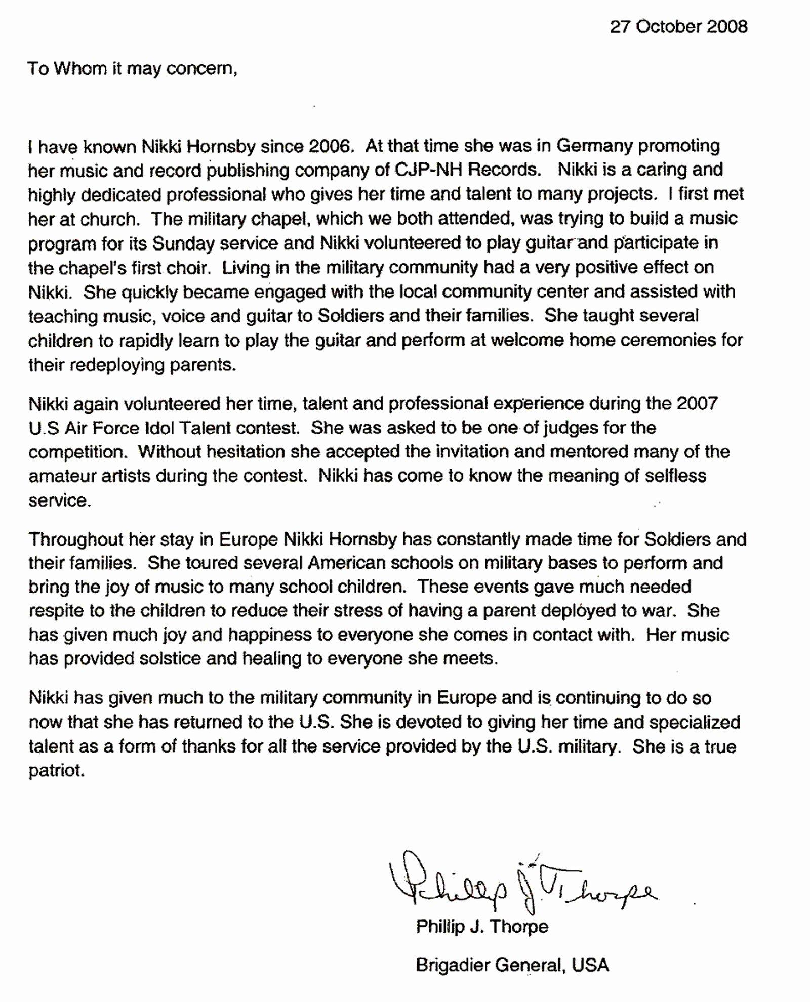 Military Letter Of Recommendation Examples Elegant File Nikki Hornsby Military Re Mendation Letter