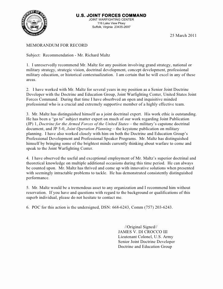 Military Letter Of Recommendation Examples Inspirational Letter Re Mendation Richard Maltz 2011