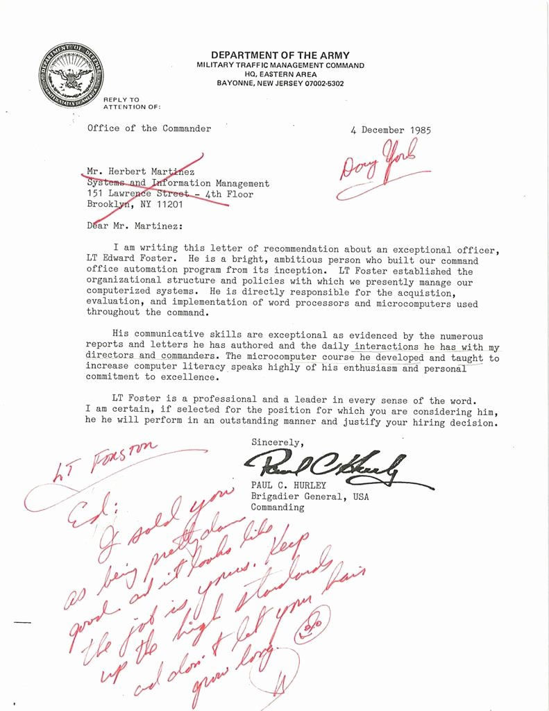 Military Letter Of Recommendation Examples New Military Traffic Management Mand Letter Of Reference