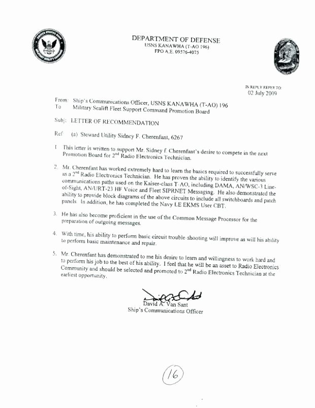 Military Letter Of Recommendation Template Best Of Military Letter Re Mendation