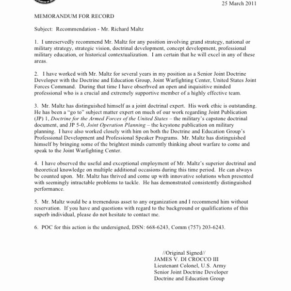 Military Letter Of Recommendation Template New Army Letter Re Mendation Template Business Plan