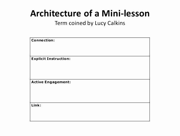 Mini Lesson Plan Template New Architecture Of A Mini Lesson Plan Template Architecture