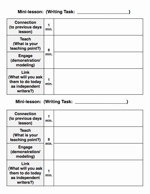 Mini Lesson Plan Template Unique Writer's Workshop Model