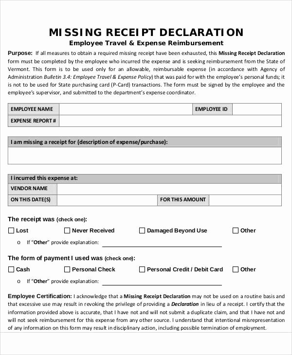 Missing Receipt form Template Best Of Receipt forms In Pdf