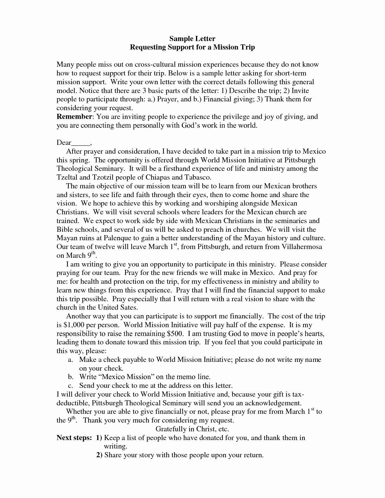 Mission Trip Donation Letter Inspirational Template for Mission Trip Support Letter Samples