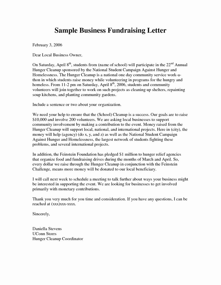 Mission Trip Donation Letter Template Lovely Business Fundraising Letter Sample Fundraising Letters