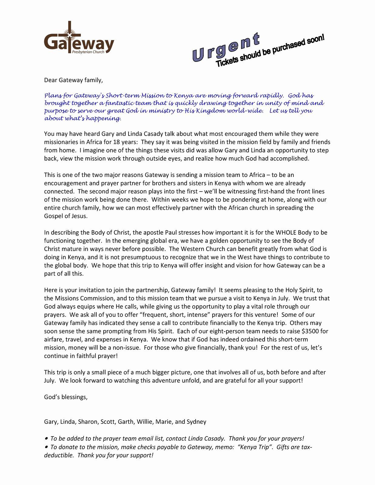 Mission Trip Donation Letter Template New Gateway Kenya Mission Trip April 2010