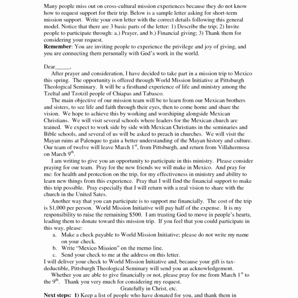 Mission Trip Fundraising Letter Template Elegant Sample Mission Trip Fundraising Letter – Hizli Rapidlaunch