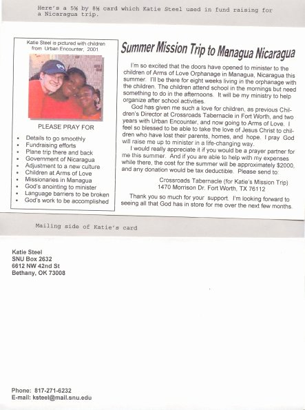 Missions Support Letter Fresh Mission Trip Fund Raising Card